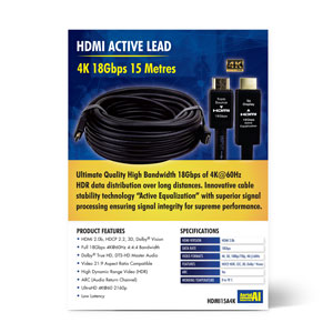 Laceys.tv Aerial Industries 4K HDMI Male to Male Active Lead 15M (PDF) Thumbnail