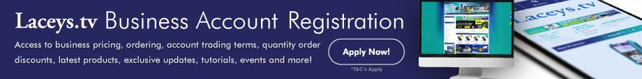 Laceys.tv Business Account Registration Banner Ad