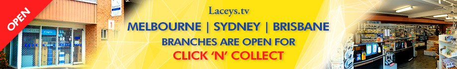 Laceys.tv Sydney Branch is Open for Click n Collect Banner Aug 2021
