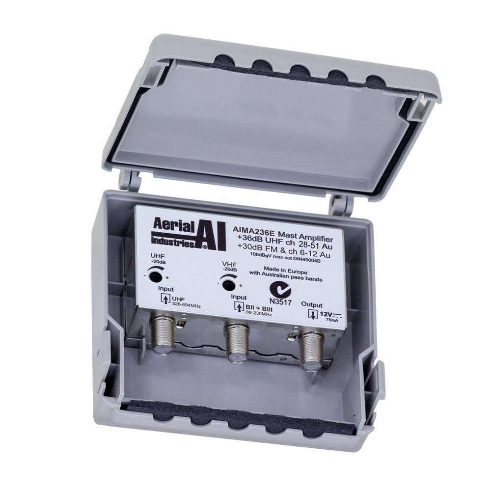 Masthead Amplifier, 2 Inputs, 36dB UHF 24dB VHF Gain, 12VDC, Ch51+ Lte Filter