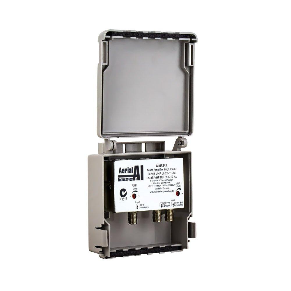 Masthead Amplifier 2 Inputs 42dB UHF 37dB VHF Gain 12V DC Channel 51 Lte Filter