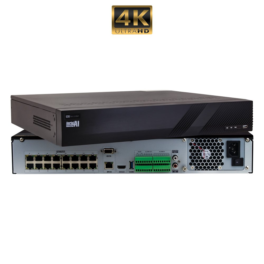 32 Channel 8MP 4K NVR Plug and Play 16 PoE CCTV AERIAL INDUSTRIES