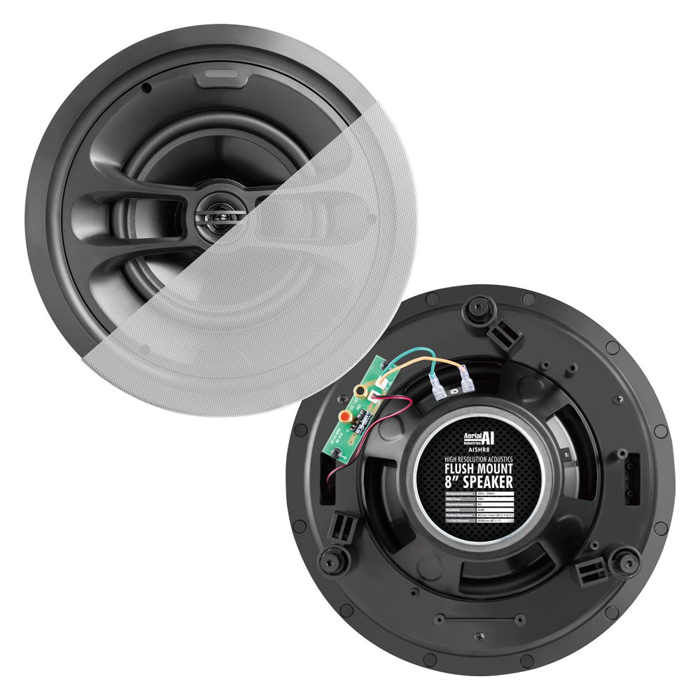 "Flush Mount Speaker 8"" Pair 70 Watt AERIAL INDUSTRIES"