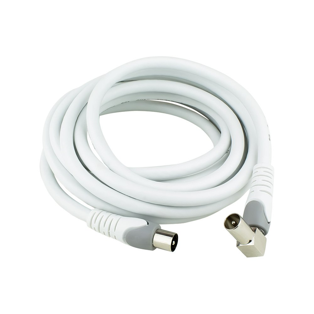 PAL Male-PAL Male Quad Shield Wire 3M White, Right Angle to Straight Connection