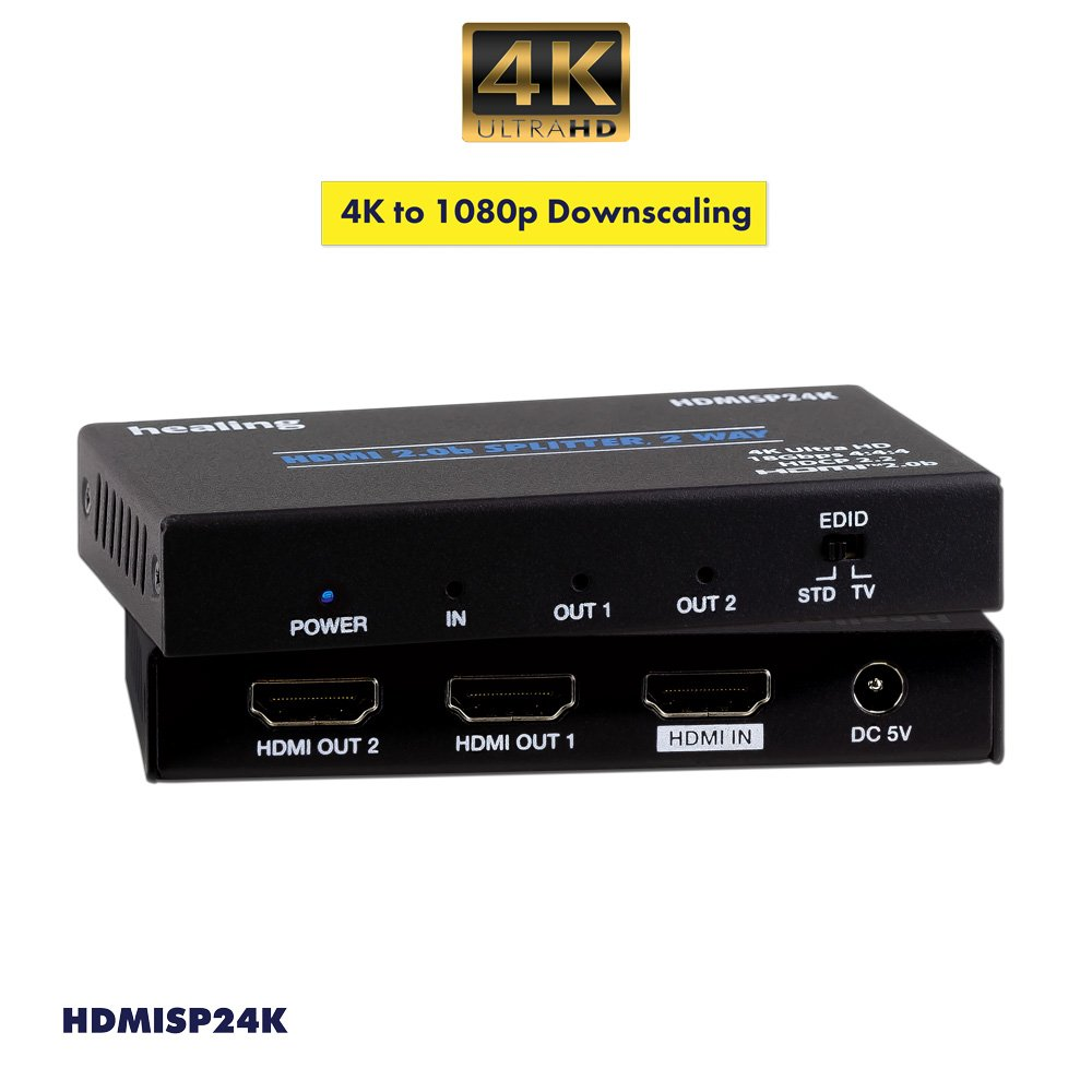 1 to 2 HDMI 2.0b Splitter HDCP2.2 18G 4K