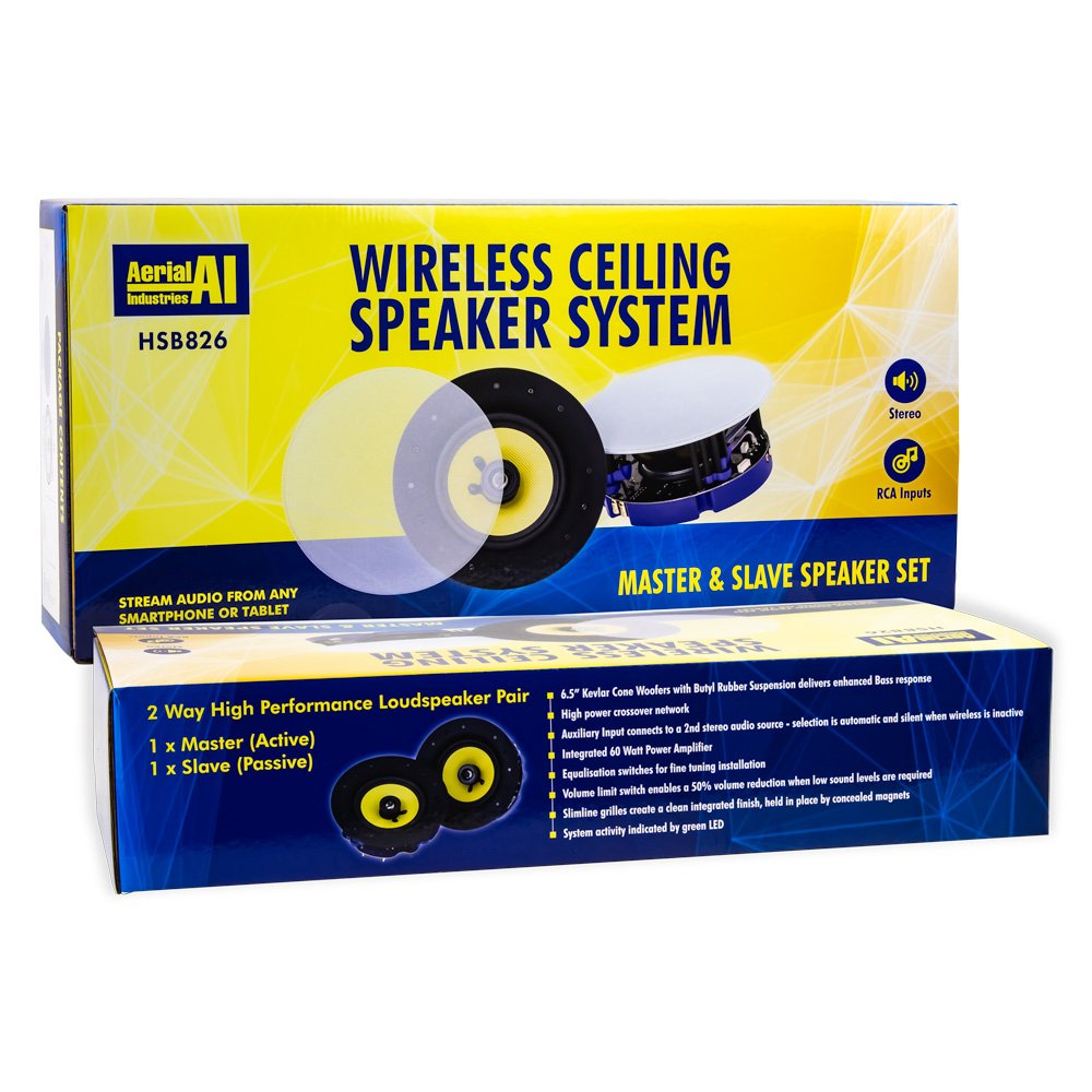 Wireless Ceiling Speaker System Master and Slave Set AERIAL INDUSTRIES