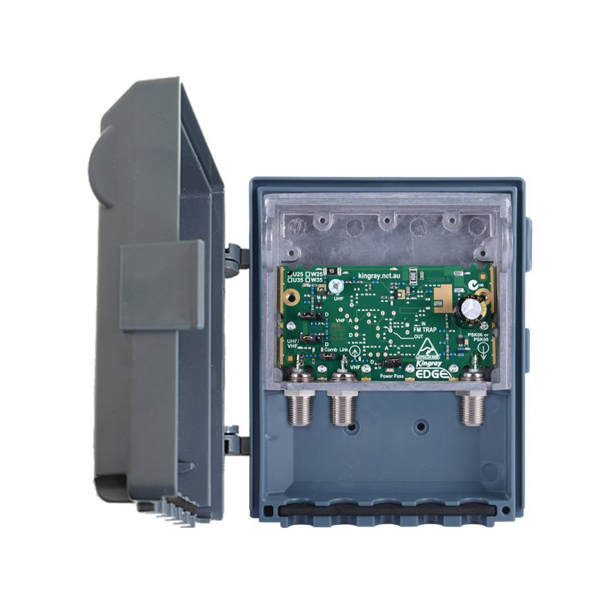 Masthead Amplifier 25dB UHF F Type Shielded 2 Input Edge Lte