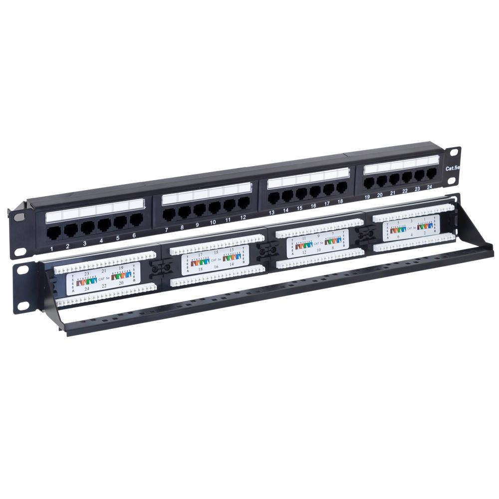 Patch Panel 24 Port CAT5e with Cable Support