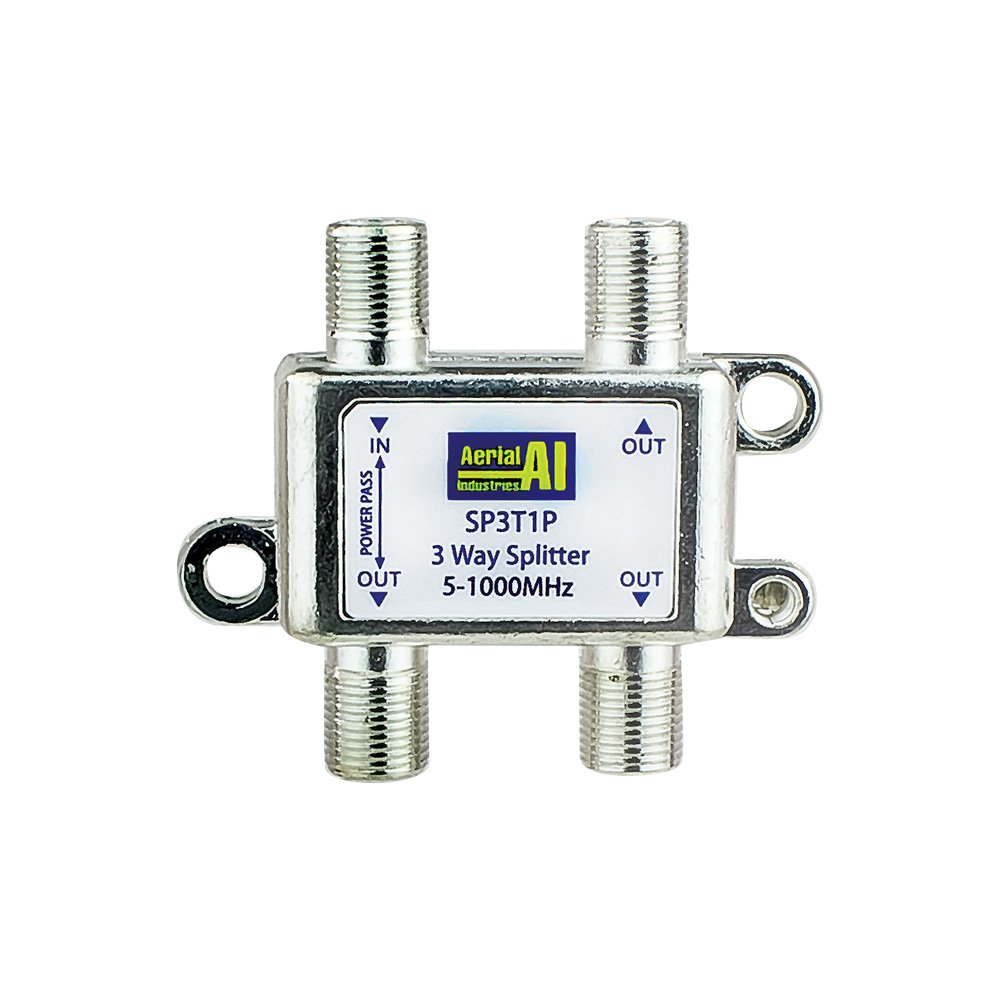 Splitter 3 Way 5 to 1000MHz 1 Port Power Pass AERIAL INDUSTRIES