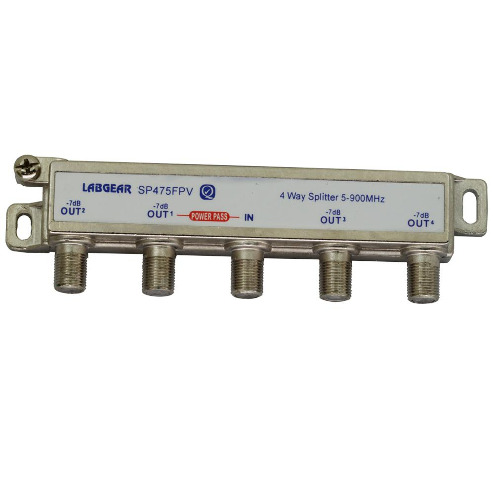 Splitter 4 Way F Type Power Pass 1 Port All Ports Face Down LABGEAR