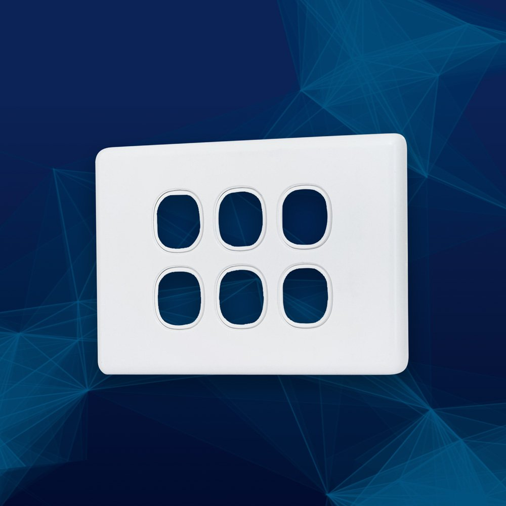 Wall Plate Slimline Premium 6 Gang