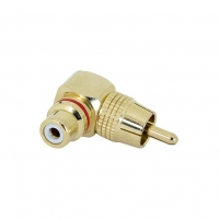 Adapter RCA Male to RCA Female Right Angle Gold