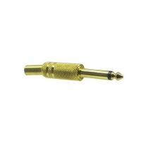 Phono Plug Male MONO 6.5mm, Solder Type, Gold Plated