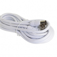 PAL Male To Male 10m Flylead, Straight Plug To Right Angle Plug, White