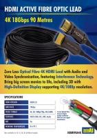 4K HDMI Male to Male Active Fibre Optic Lead 90M