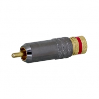 RCA Male, Solder Gold Plated, Red Stripe