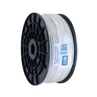 Coax RG6 Dual Shield 100m Plastic Spool, Foam Foil & Braid, White