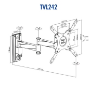 """Aluminum Articulating Wall Mount 13"""" To 42"""", Up To 15kg - Designed for Caravans"""